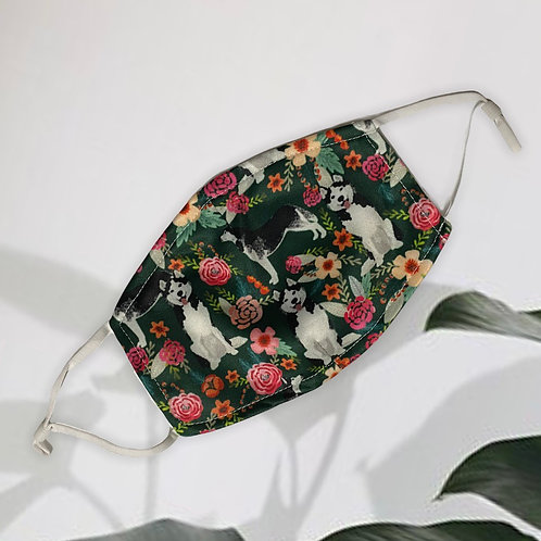 Handmade Husky Floral Cotton Face Mask