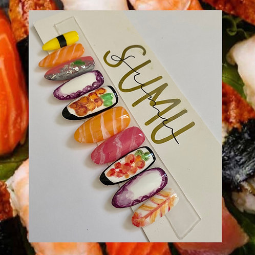 Handpainted Sushi & Sashimi Press On Gel Nails