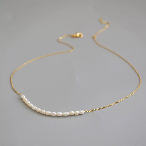 18K GOLD FILLED & AUTHENTIC PEARL DAINTY GOLD NECKLACE