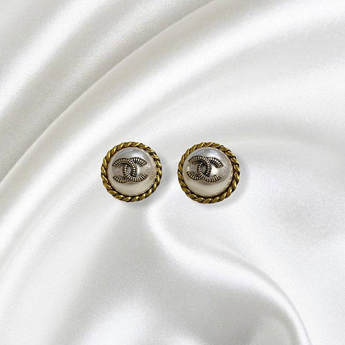 REWORKED AUTHENTIC COCO CHANEL VINTAGE BUTTON STUD EARRINGS