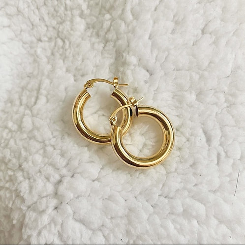 THE CECI ♡ CHUNKY GOLD HOLLOW S925 HOOPS