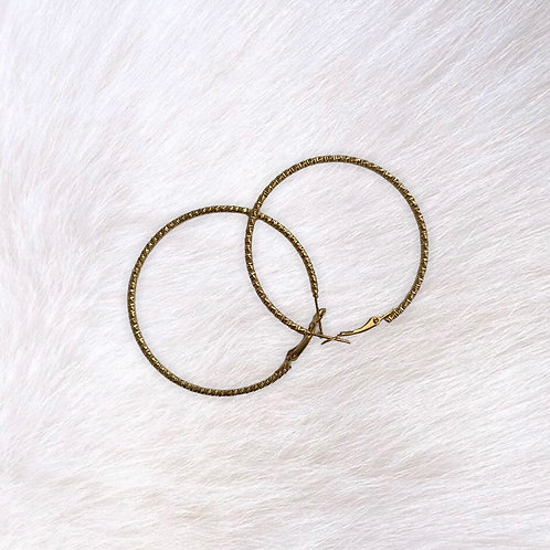 Gold Intricate Detailed Hoops
