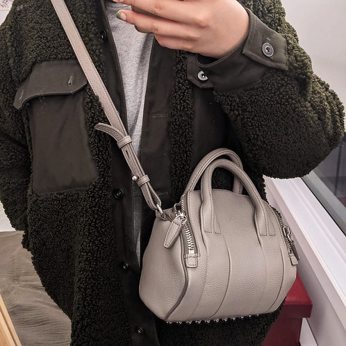 ALEXANDER WANG Authentic Grey Pebbled Leather Mini Rockie Purse