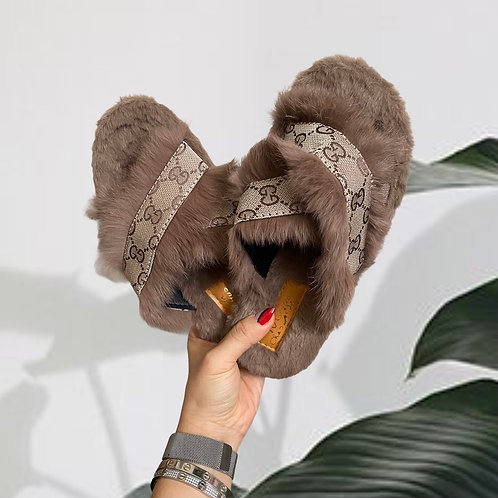 Reworked Authentic GUCCI Fabric Fur Sandals (Women's 8)