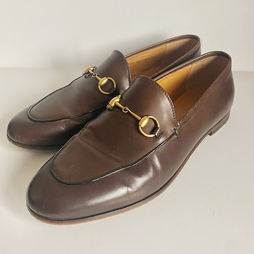 GUCCI AUTHENTIC TAN LEATHER HORSEBIT LOAFERS (SIZE 38)