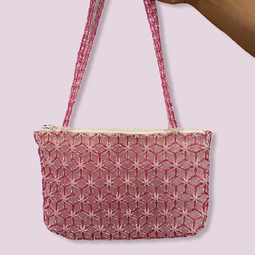 HANDMADE | Pink and White Beaded Shoulder Bag