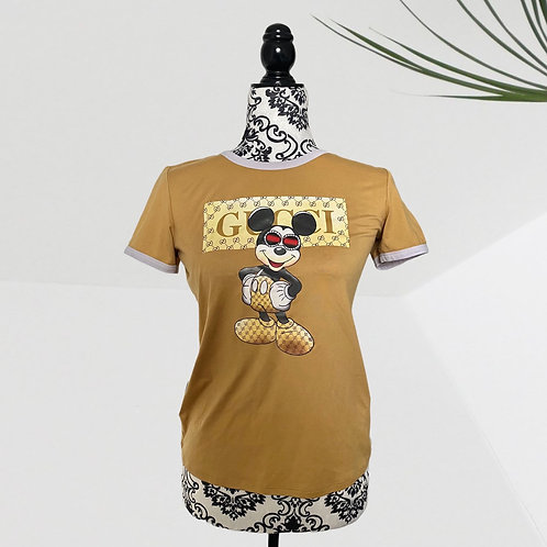 Custom Mickey x Boujie Gucci Mustard Tee