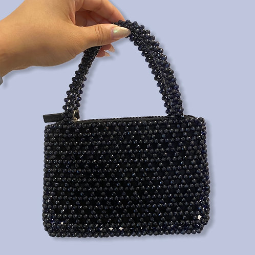 HANDMADE | Black Bead Baguette Purse