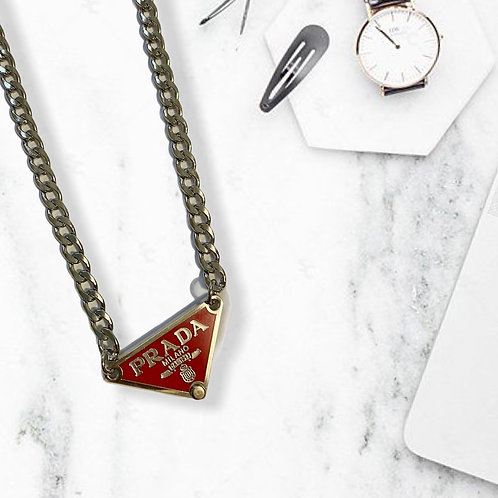 REWORKED AUTHENTIC PRADA EMBLEM RED & SILVER CHAIN NECKLACE