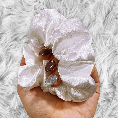 Handsewn White Mulberry Silk Large Scrunchie
