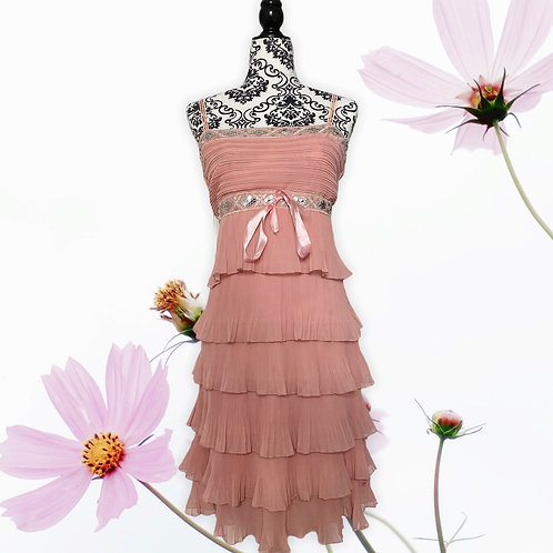 VINTAGE FLOWY PINK SEQUIN LAYERED DRESS (SIZE S)