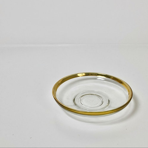 Vintage Gold-Rimmed Glass Dish