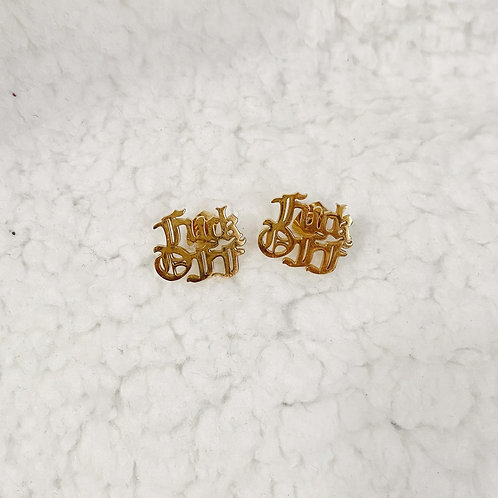 """""""FUCK OFF"""" VICTORIA  GOTHIC FONT STUD EARRINGS"""