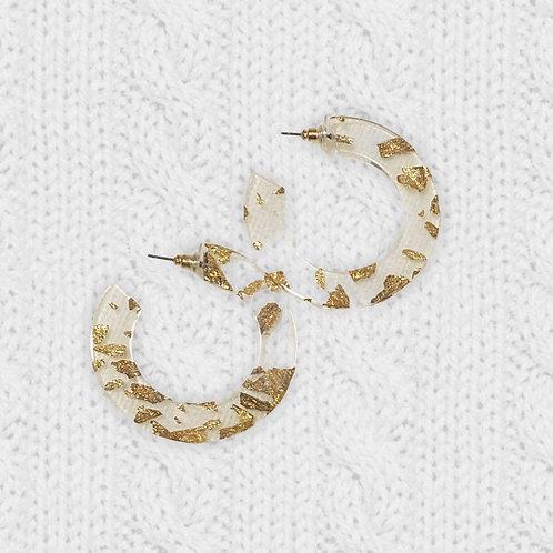 GOLD RUSH ♡ Clear Resin & Gold Flake Hoop Stud Earrings