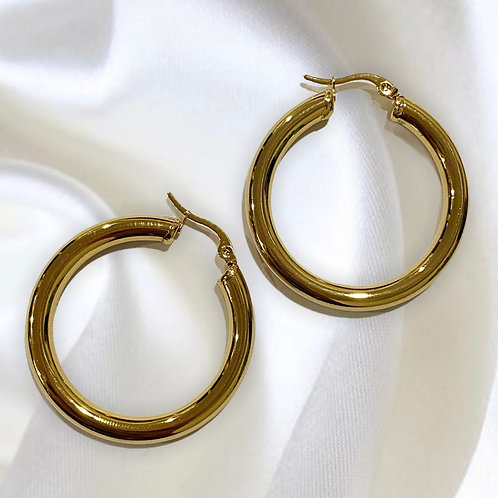 Vintage Style Chunky Gold Hoop Earrings