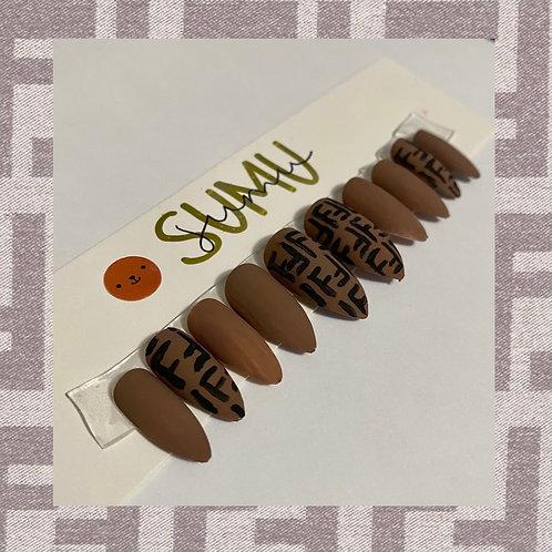 Handpainted FENDI Monogram Matte Press On Nail Set