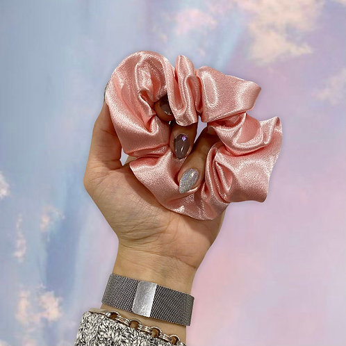 Handsewn Mulberry Silk Baby Pink Large Scrunchie