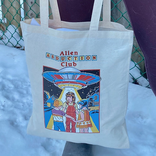 "Custom-Made ""Alien Abduction Club"" Cotton Tote Bag"