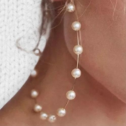 THE LIVIA ♡ Huge Statement Pearl Gold Hoop Earrings
