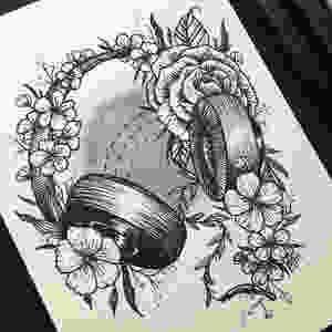 headphones floral flowers ink rose