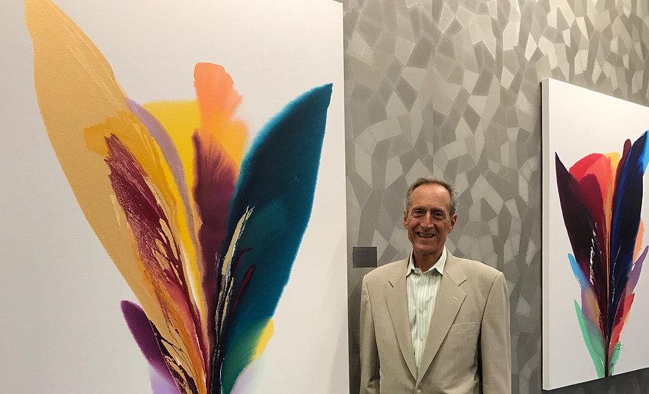 Artist Robert Schoenfeld With Paintings
