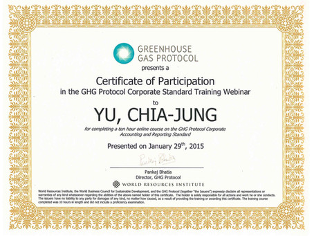 Congratulations to our 2 Project Managers Vita WU and Andrea YU completing GHG Protocol's Corporates