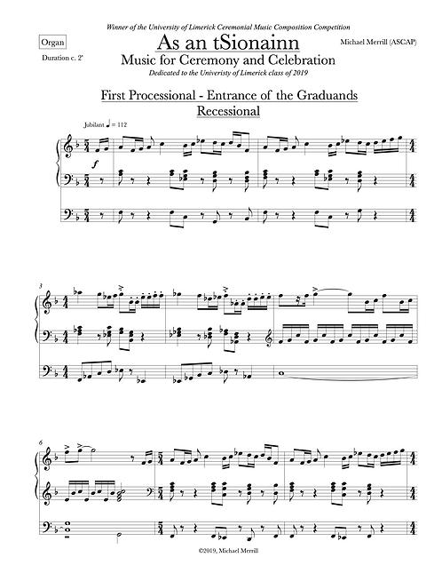 As an tSionain, version for Solo Organ