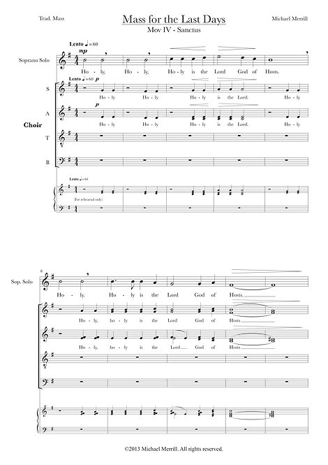 Sanctus, from Mass for the Last Days