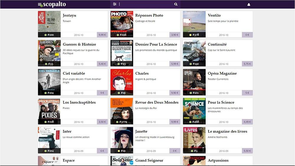 Interface du kiosque numérique Scopalto.com