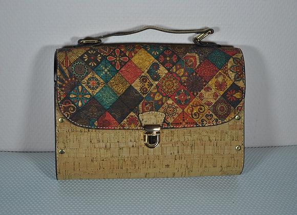 Handttas satchel boekentasmodel in kurk en hout