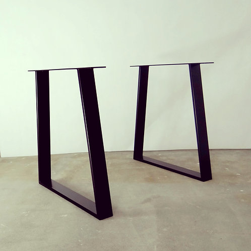 Trapezoid Steel Dining Table Legs Set Of 2 Heavy Duty Metal Table