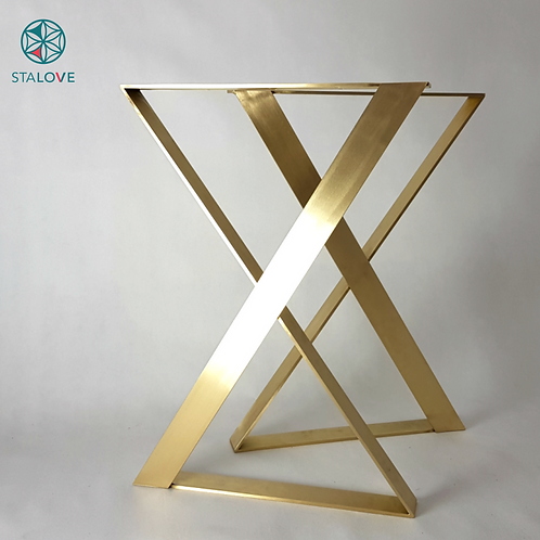 Brass Table Legs XZ shape (set of 2). Great Metal Legs For Dining Table