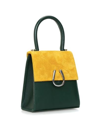 Mustard-Green Leather Micro Dem  Bag