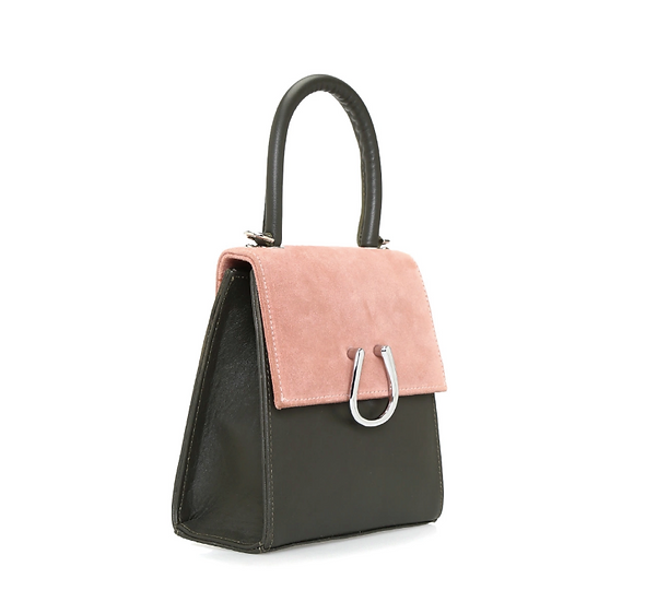 Rose-Khaki Leather Micro Dem  Bag