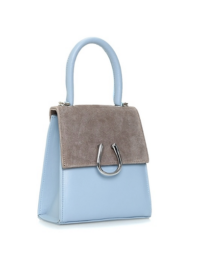 Baby Blue-Sand Leather Micro Dem  Bag