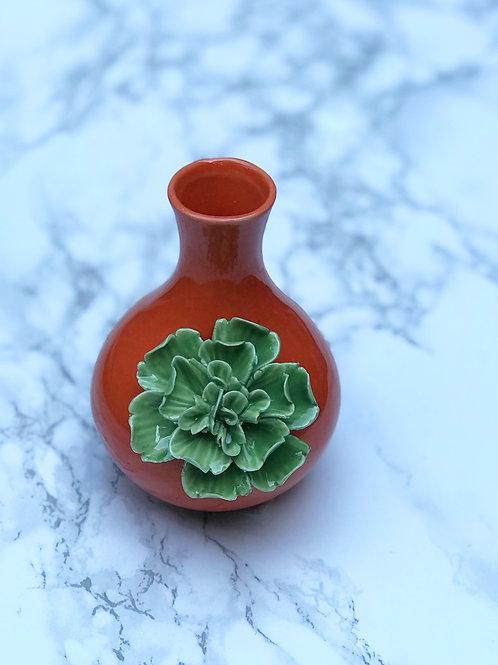 Mini Orange Vase with Flower