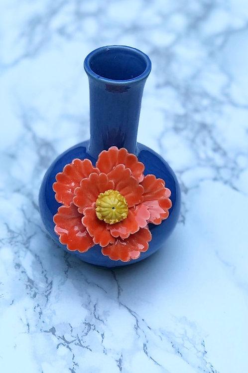 Mini Blue Vase with Flower