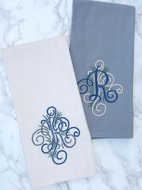 Custom Embroidered Monogram Dish Towel