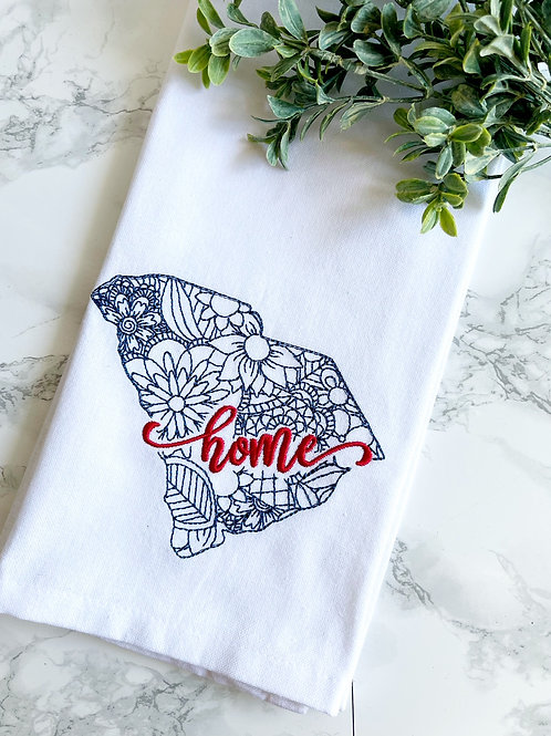 SC Embroidered Dish Towel