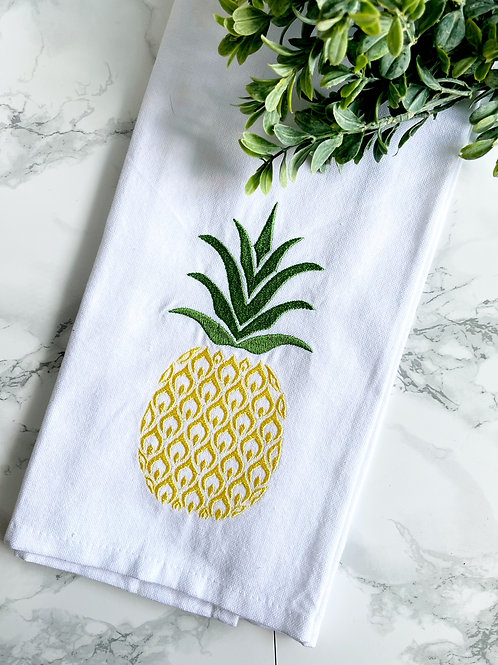 Embroidered Pineapple Dish Towel