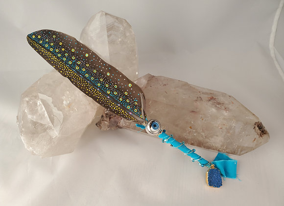 """Hand Painted Saging Feather """"See All"""""""
