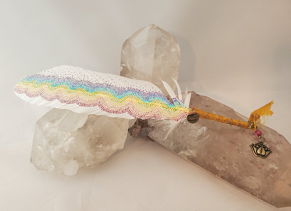 "Hand Painted Saging Feather ""Over the Rainbow"""