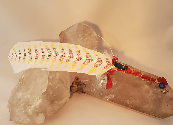 "Hand Painted Saging Feather ""Fire Flight """
