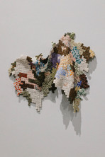 Jessica Sanders, Small Squares no1, porcelain, stoneware, and wire, 2020