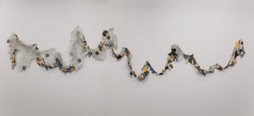 Jessica Sanders, Stretch, Droop, Veil, porcelain, stoneware, terra cotta, and wire, 2020