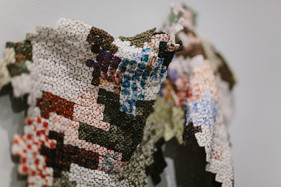 Jessica Sanders, Small Squares no1 (detail 1), porcelain, stoneware, and wire, 2020
