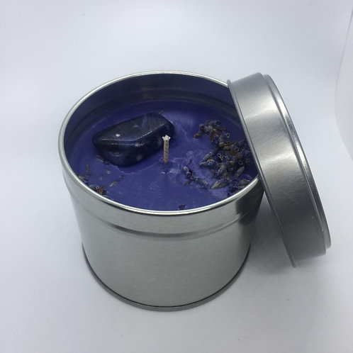 Lavender Tinned candle with crystals