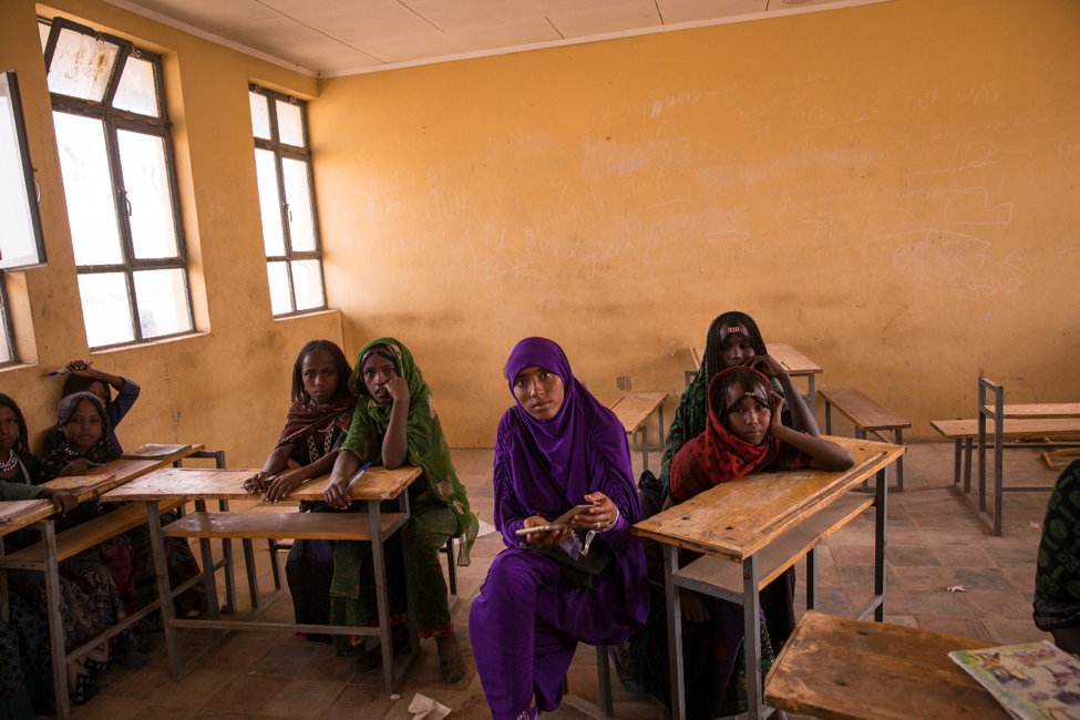 Ethiopian girls attending school. Educational equality from Dignity Period.