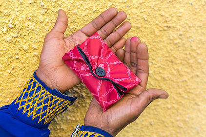 Reusable pad in girl's hands