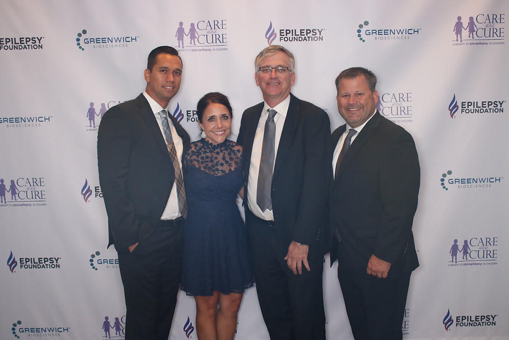 Kea Lingo, Greenwich Biosciences, Lauren Cole, Archbow Consulting, DeWayne Manning, Archbow Consulting, and Barrett Land, Greenwich Biosciences, at the Epilepsy Foundation of Greater Los Angeles's Care + Cure Gala.